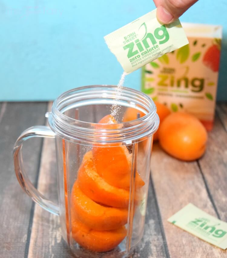 Try some #SweetExcitement w/an easy Apricot Bellini Mocktail w/ @ZingStevia #yum! #ad #drink