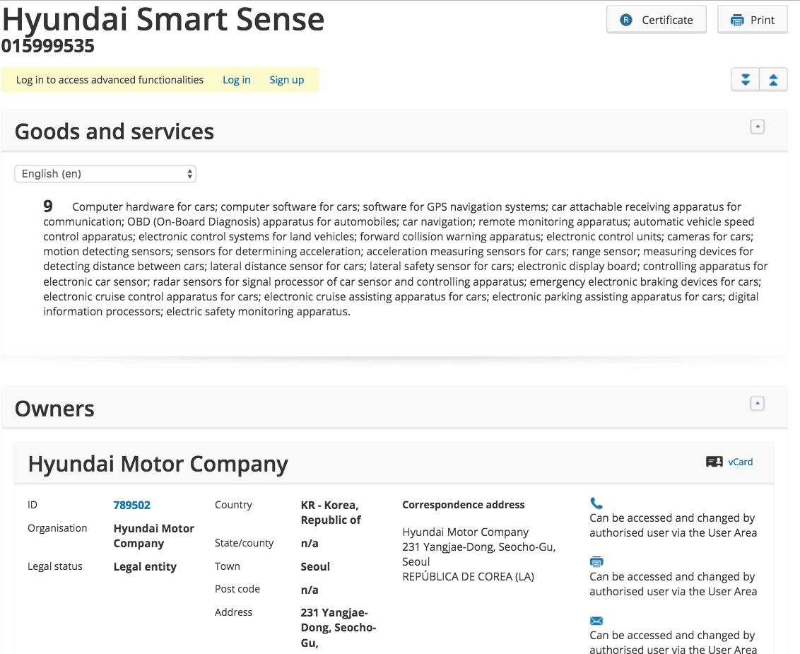 Hyundai Smart Sense Trademark Application In The Eu Hyundai Hyundai Smartsense