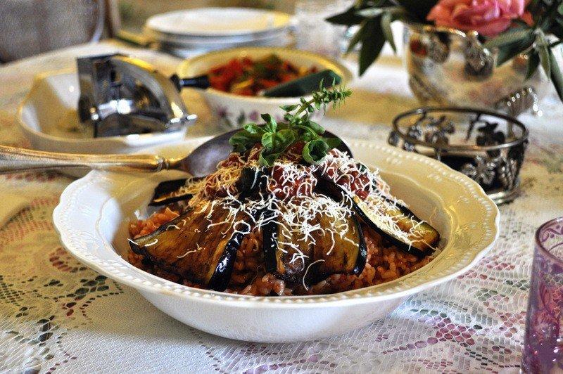 Pasta alla Norma with rice