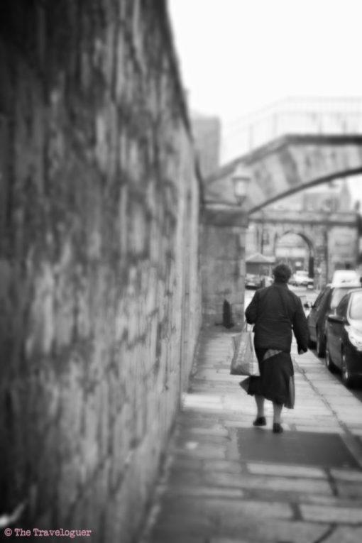 Dublin woman walking. Monochrome Monday.