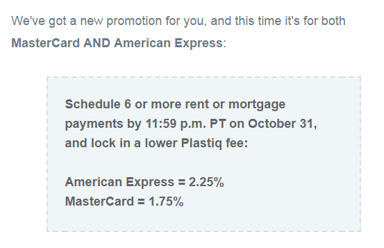 Plastiq Promotion: Lower Fees When Paying Mortgage or Rent with MasterCard or Amex