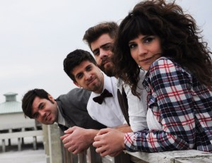 Swear and Shake includes, from right to left, Kari Spieler, vocals and guitar; Shaun Savage, electric bass; Ben Goldstein, drums; and Adam McHeffey, vocals, guitar and banjo. They are performing Feb. 5 at World Cafe Live. Photo courtesy Swear and Shake.
