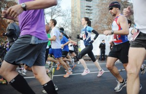 Runners enjoy the beginning of the 2011 Philadelphia Marathon. (Sarah J. Glover/Philadelphia Inquirer/MCT)