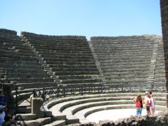 This Roman ampitheatre was found buried and preserved in ash and pumice