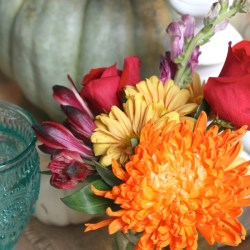 Pretty colorful fall flowers turquoise thanksgiving tablescape the turquoise home mightylinksfo