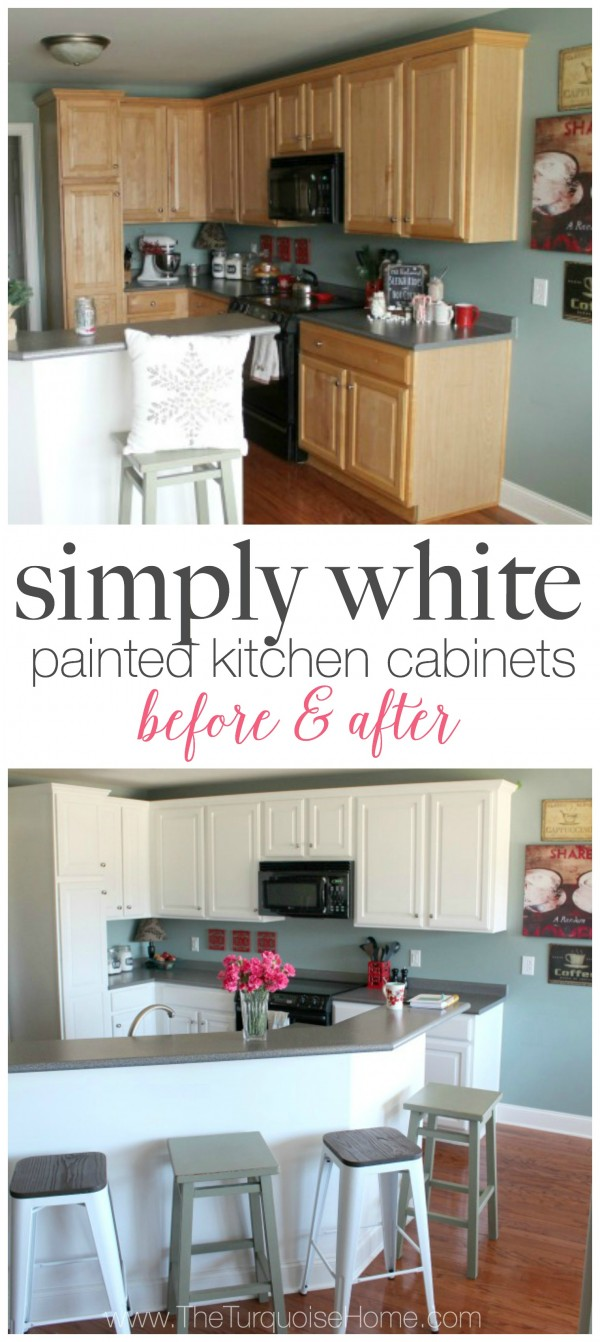 simply white painted kitchen cabinets paint kitchen cabinets white DIY Painted Kitchen Cabinets with Benjamin Moore Simply White