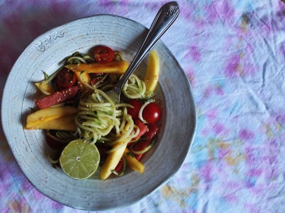 spiralized cucumber salad with mango watermelon chili and lime