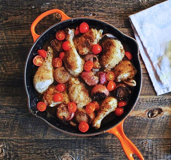 chicken with shallots, in skillet