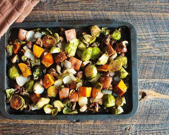 roasted autumnal vegetables in balsamic and mustard
