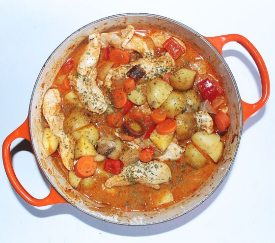 thai chicken curry in le creuset