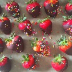 dark chococlate covered strawberries with jimmies
