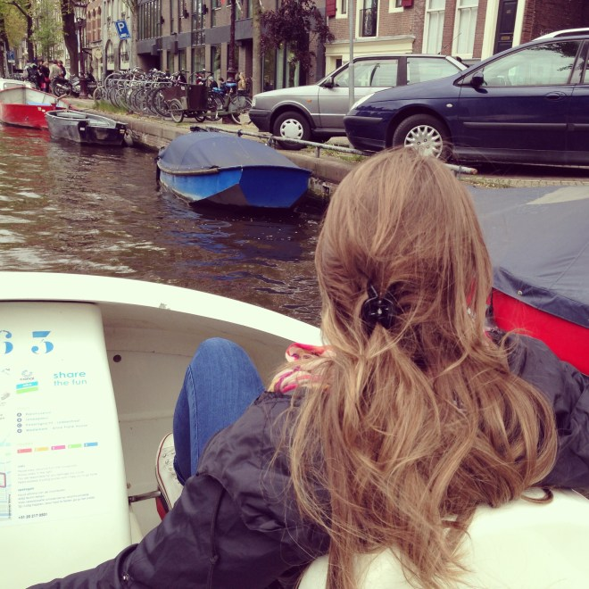Renting pedal boats on the canals of Amsterdam