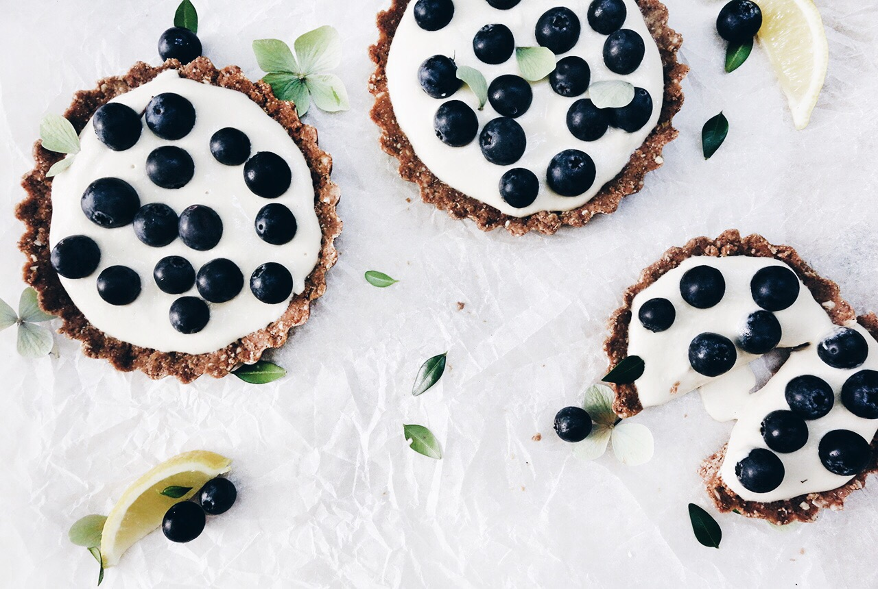 Raw Peanut Butter Chocolate Tart with Lemon Cashew Cream & Blueberries