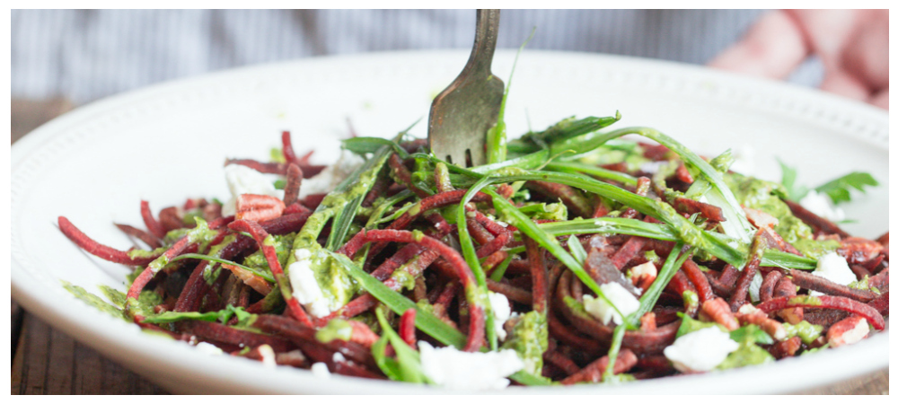 Spiralized Beet  Salad w/ Parsley Dressing