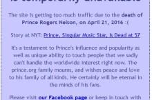 prince website down