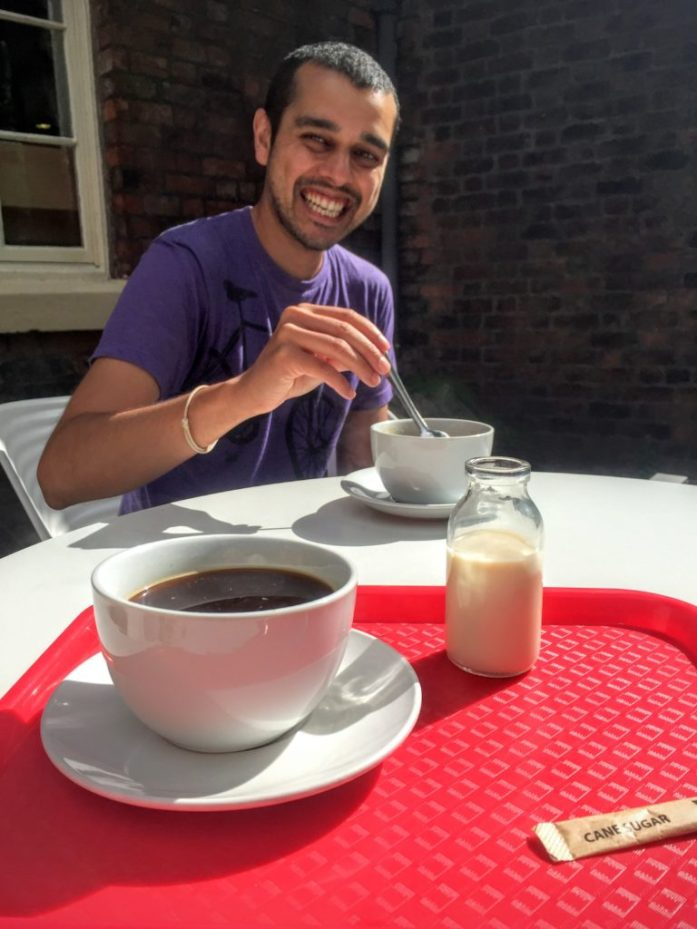 JitGo and The Urban Wanderer drinking coffee at the Bluecoat Gallery in Liverpool