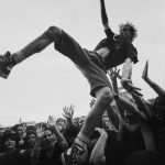 Crowd surfer in the crowd at the Big Day Out Festival Perth W. Australia 1990s | Photo by Mike Wylie