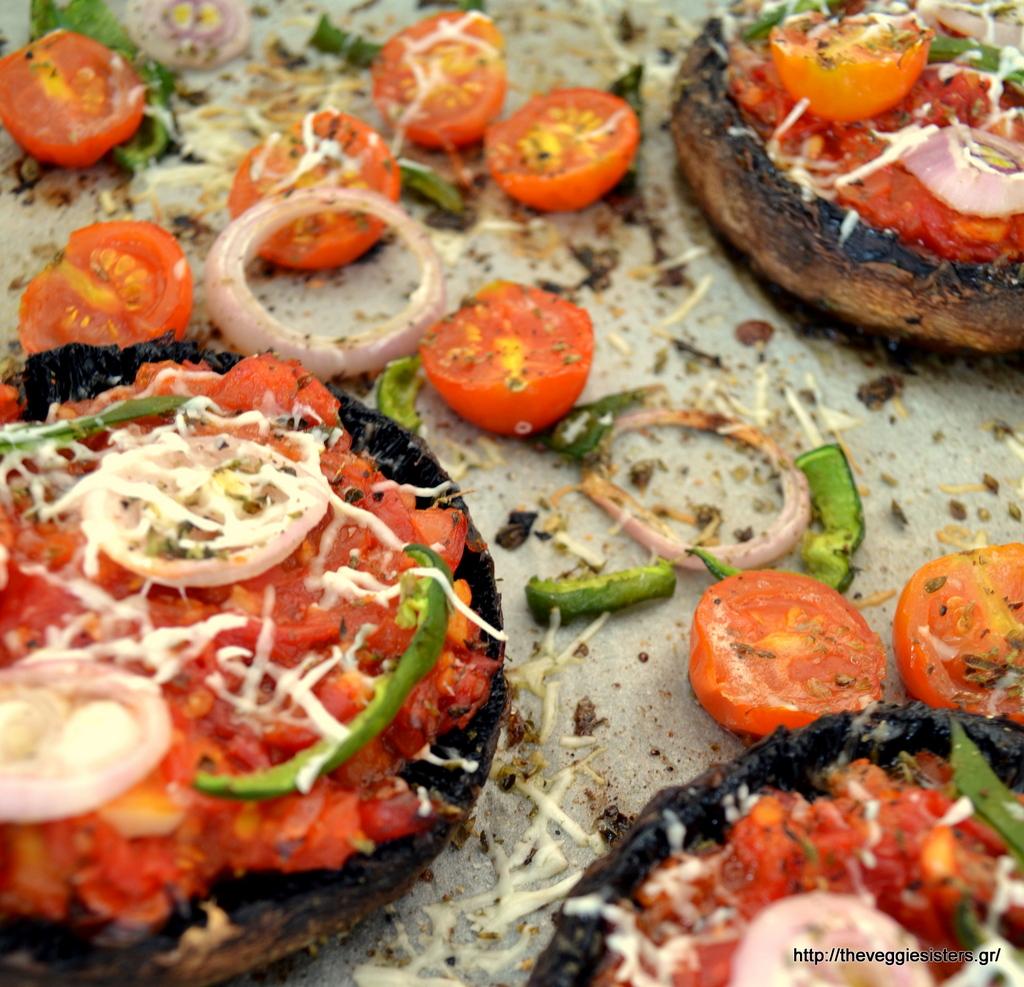 Πίτσα με βάση μανιτάρια πορτομπέλο