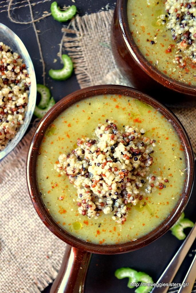 Σούπα με σελινόριζα κ κινόα- Celeriac quinoa soup