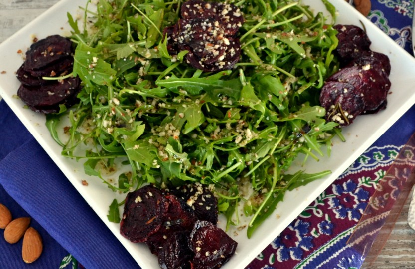 Green roasted beet almond salad