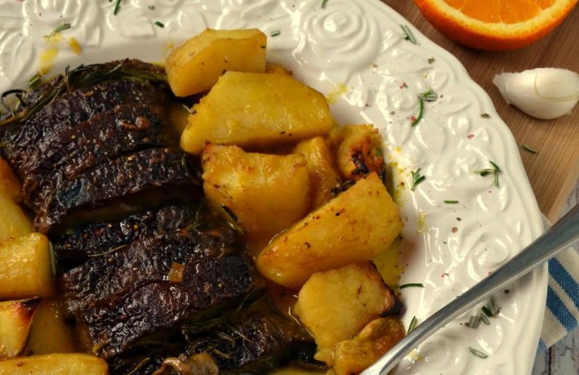 Το ψητό του χορτοφάγου: μελωμένα πορτομπέλο με πατάτες κ πορτοκάλι στον φούρνο