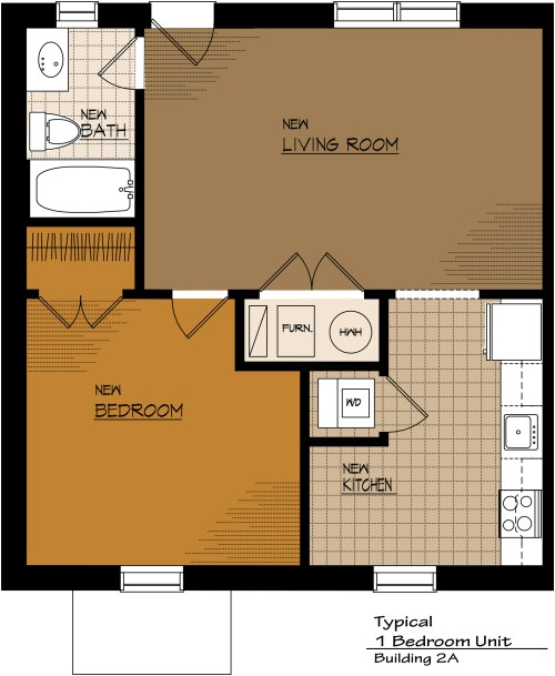 Medium Of One Bedroom Apartment Floor Plans