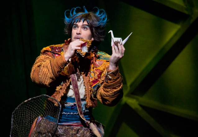 Papageno (John Brancy) explains that he catches birds for the Queen of the Night, in return for wine and food.