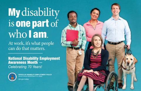 Disability is one part of who I am poster, showing a group of office workers who live with disabilities smiling into the camera.