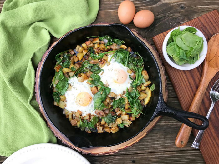 Spinach Arugula Breakfast Hash by The Whole Cook HORIZONTAL FEATURE