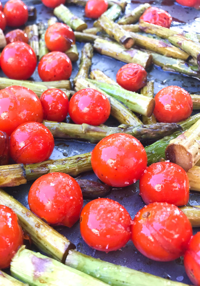 Roasted Balsamic Tomatoes & Asparagus by The Whole Cook VERTICAL FEATURE up close