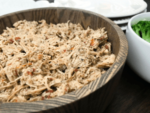 Slow Cooker Italian Pulled Chicken by The Whole Cooker HORIZONTAL FEATURE up close