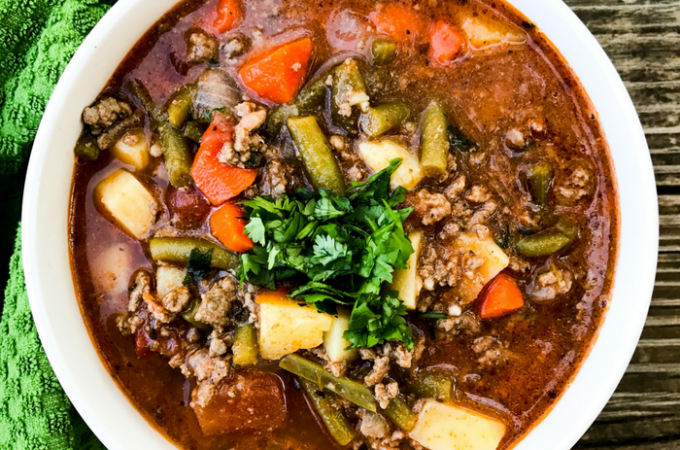 30 Minute Hamburger Soup by The Whole Cook Horizontal Feature