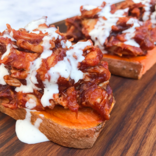 "Barbecue Chicken on Sweet Potato ""Toast"""