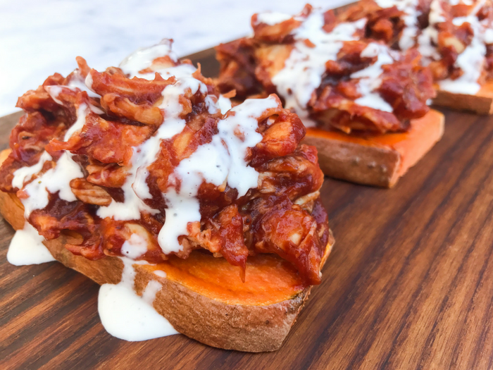 Barbecue Chicken Sweet Potato Toast by The Whole Cook HORIZONTAL FEATURE