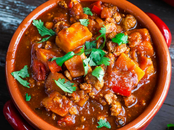 Chipotle Turkey & Sweet Potato Chili by Peas & Crayons