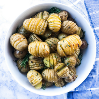 Garlic Rosemary Baby Hasselback Potatoes