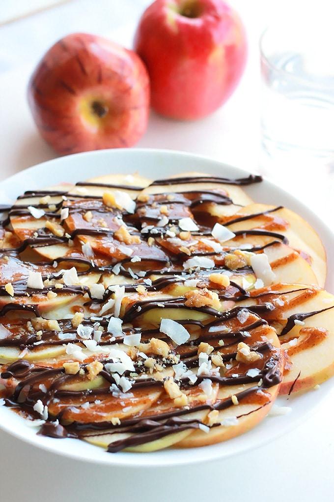 Apple Nachos with Vegan Caramel Sauce