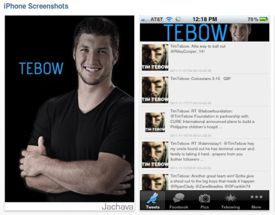 tim tebow app for iphone Tim Tebow: Not Surprisingly, Theres An App for That, Too
