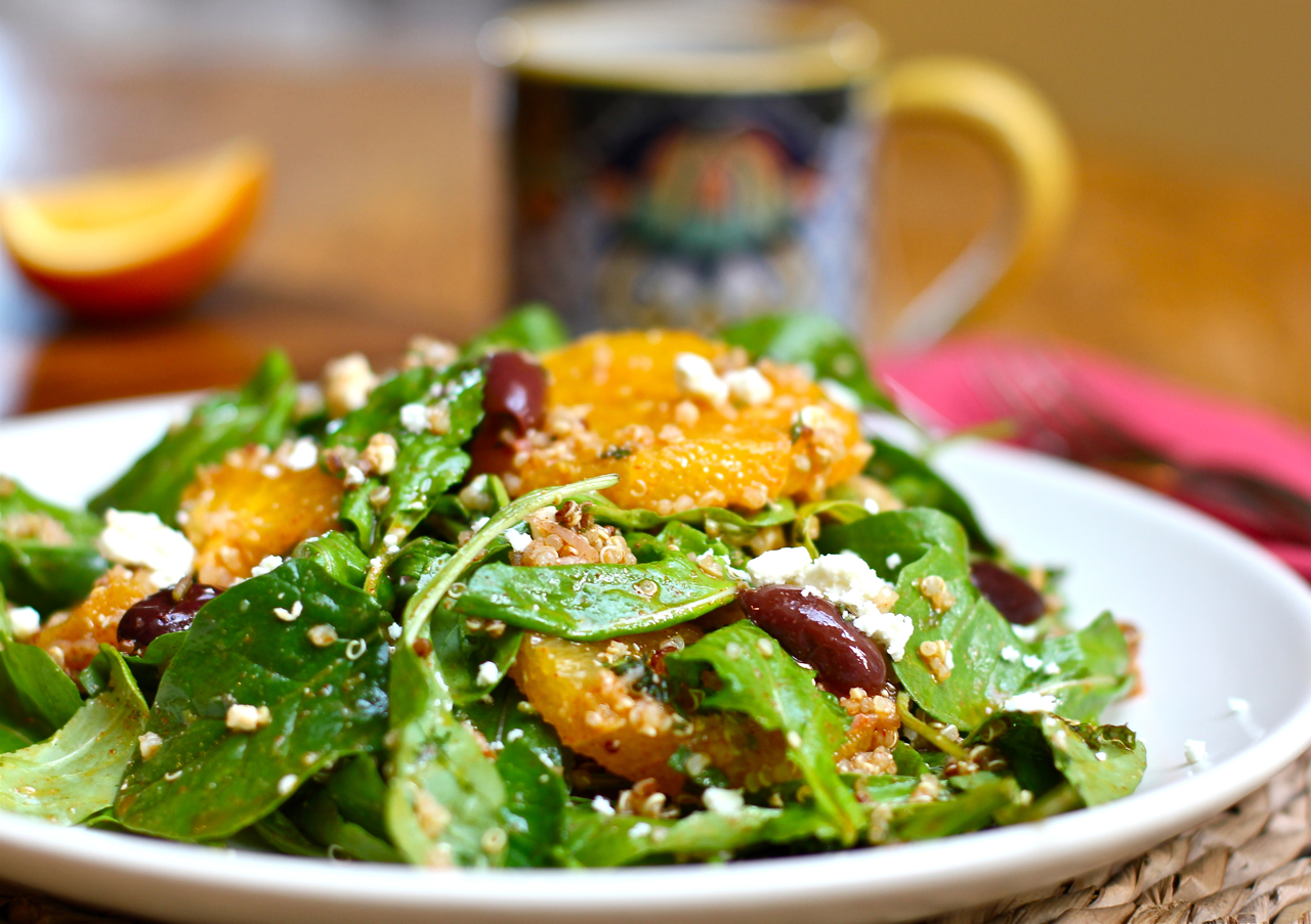 Orange Moroccan Salad with Arugula and Quinoa