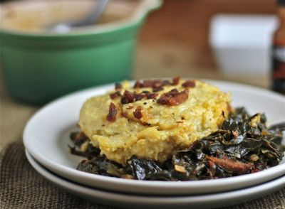 Cheesey Grits and Smokey Greens Casserole