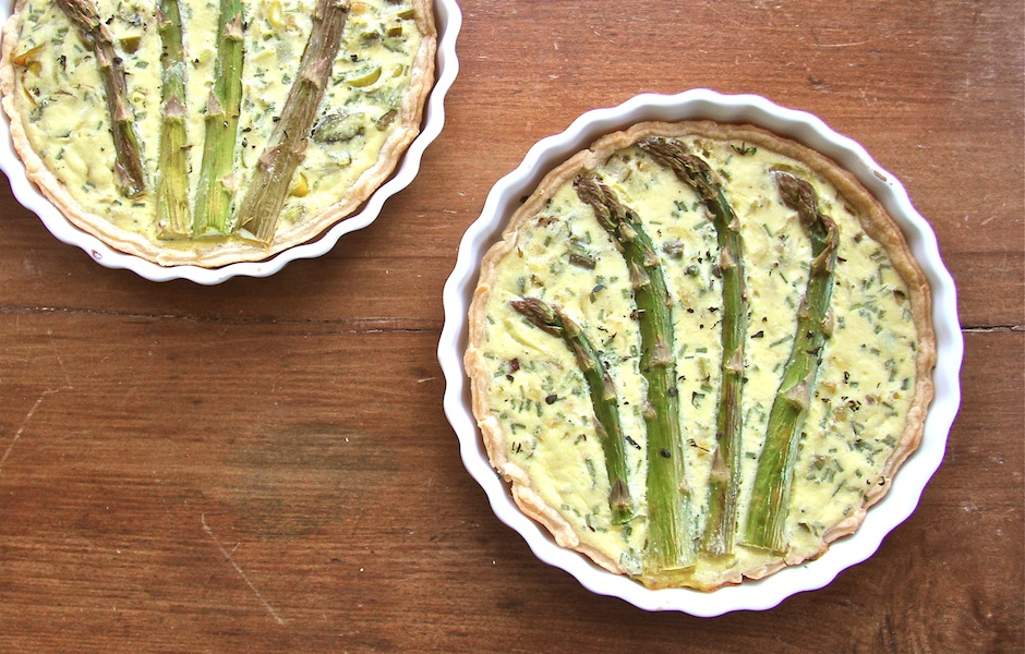 Lightened quiche with ricotta cheese, spring asparagus quiche