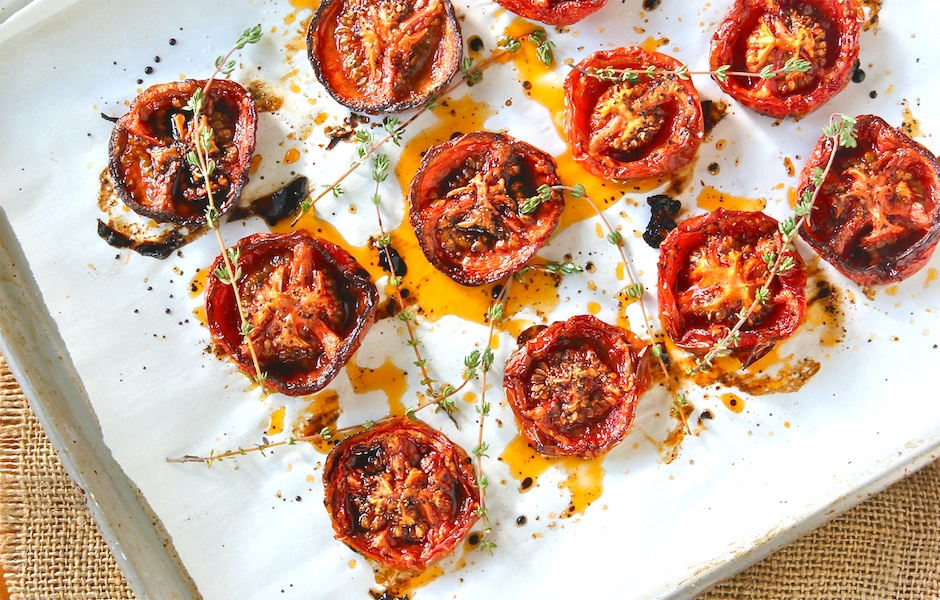 slow roasted tomatoes drizzled with balsamic vinegar, how to slow roast tomatoes