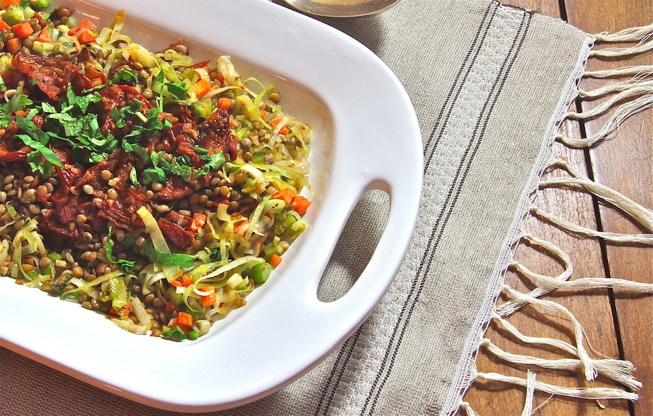 Umbrian lentil sauté with leeks and roasted balsamic tomatoes