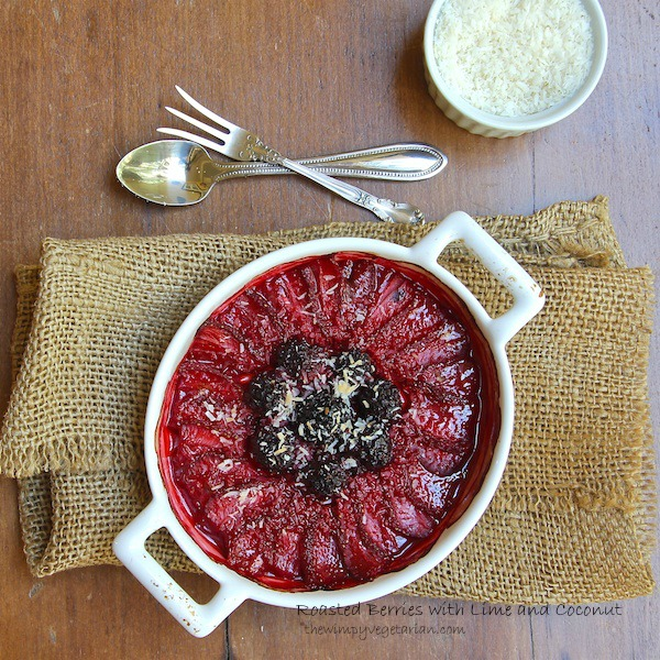 Roasted strawberries and blackberries topped with lime and toasted coconut, gluten-free dessert recipe