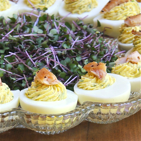 deviled eggs with smoke trout, horseradish, for a picnic, recipe, easy entertaining