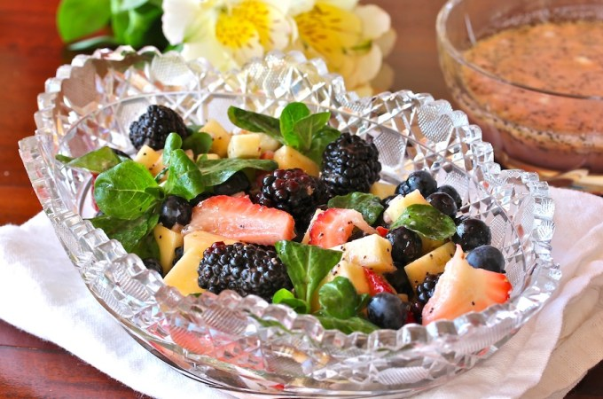 strawberries, blueberries, blackberries, gorgonzola, with ginger poppyseed dressing for cooking for a crowd