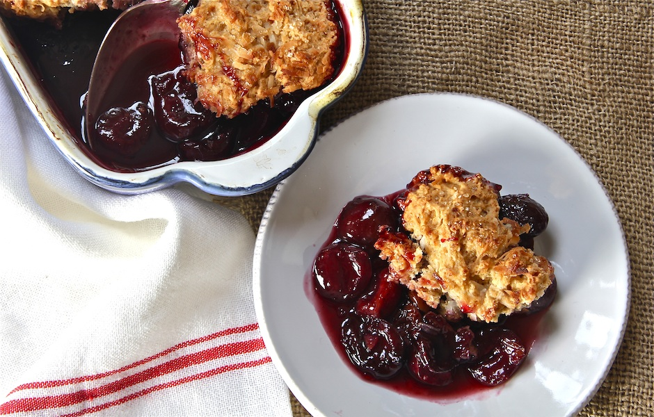 cherry brandy cobbler with coconut biscuit, easy entertaining, summer dessert