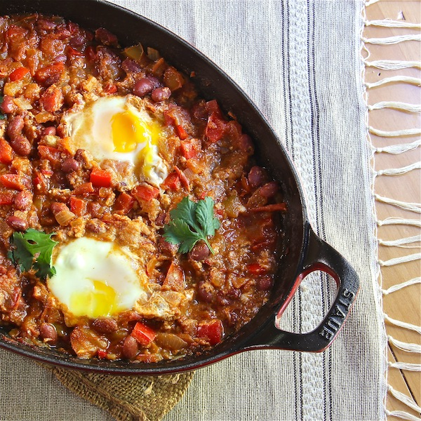 Moroccan Bean Ragout with Poached Eggs