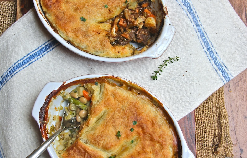 vegetable and beef pot pies