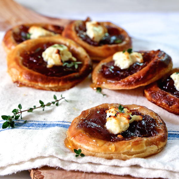 Caramelized Onion, Feta, and Honey Tartlets